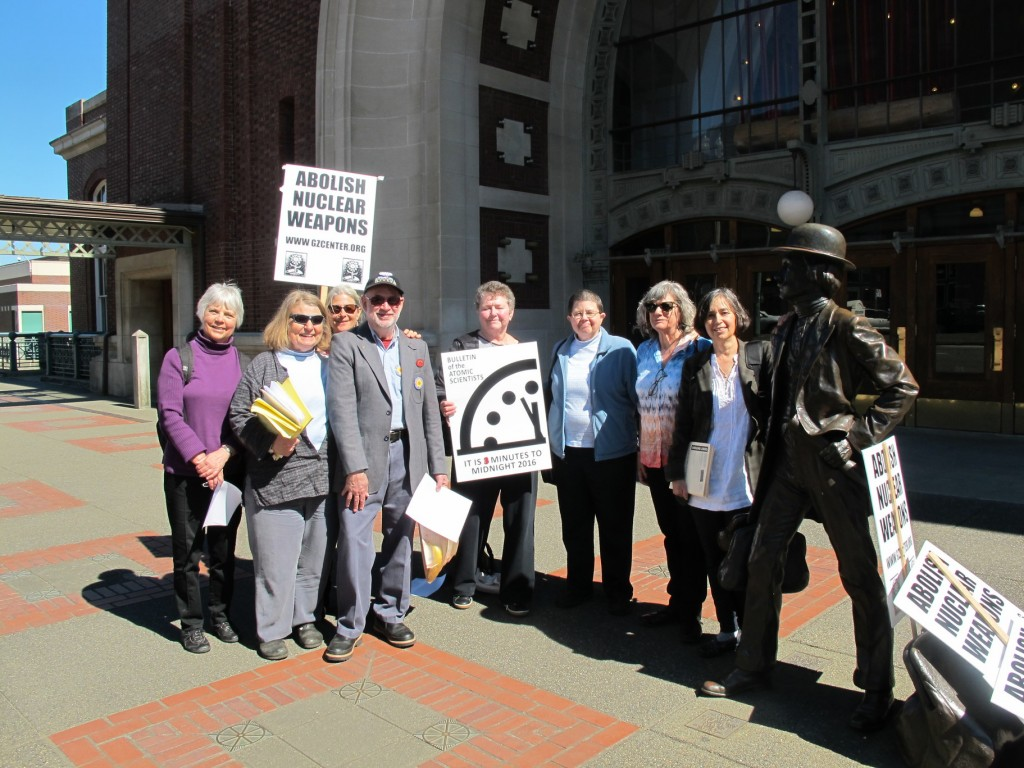 Bangor Eight defendants (L to R): Anne Hall, Mary Gleysteen, Ann Kittredge, Michael Siptroth, Emilie Marlinghaus, Betsy Lamb, Peggy Love, Elizabeth Murray