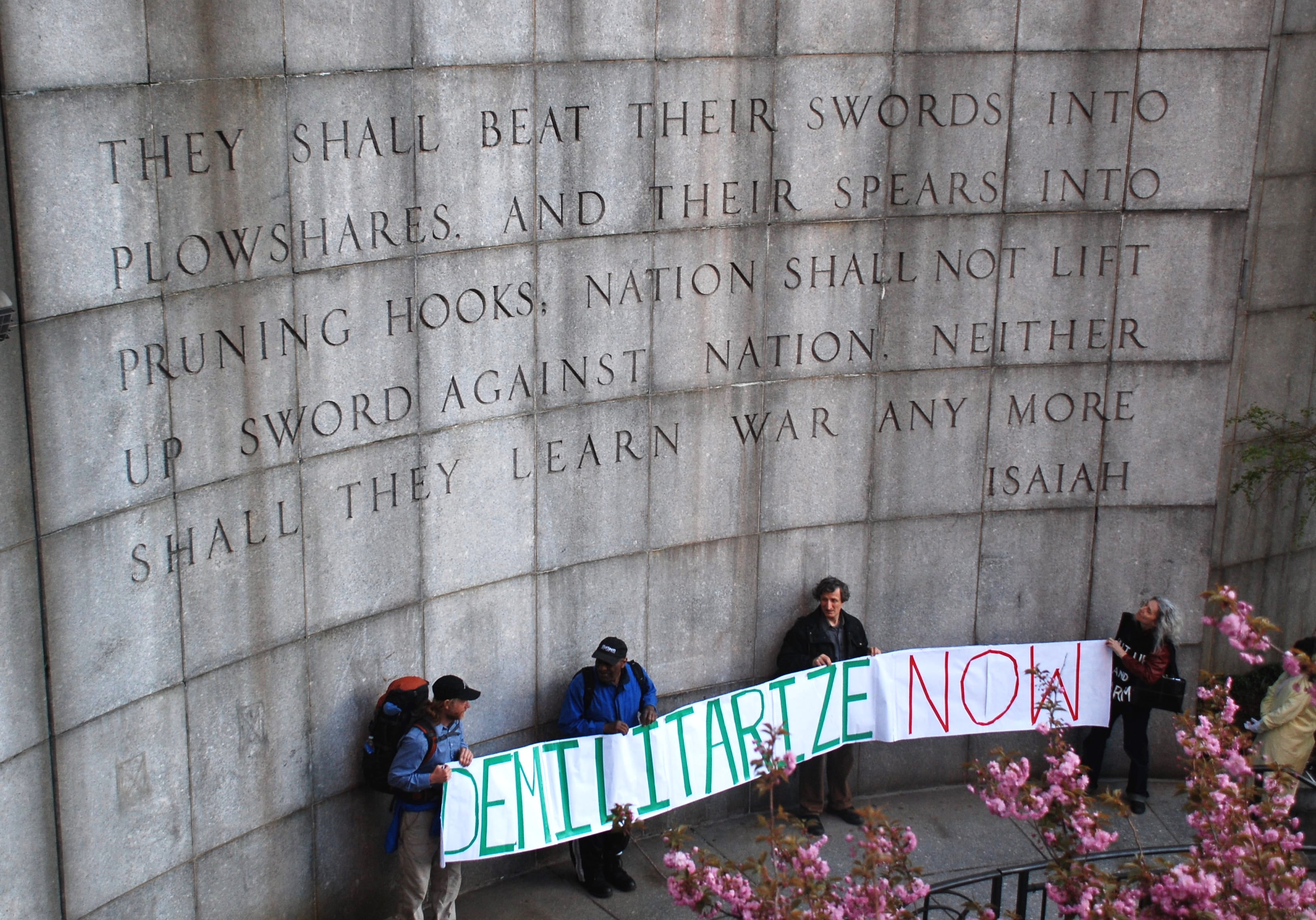 Isaiah Wall, across from the United Nations, New York (photo by Leonard Eiger)