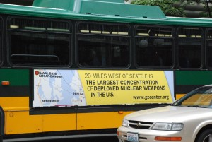 Bus with the promoted message from Ground Zero Center for Nonviolent Action
