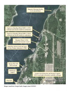 Aerial view of Naval Base Kitsap-Bangor waterfront